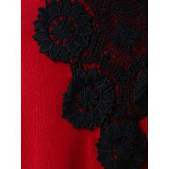 Plus Size Lace Trim Tiered Peplum Tank Top - RED 4X