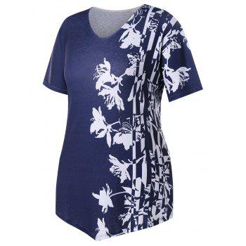 Plus Size Two Tone Floral V Neck T-shirt - MIDNIGHT BLUE 5X