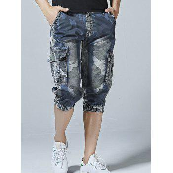 Multi-pocket Camo Print Loose Cargo Shorts - DENIM BLUE 34