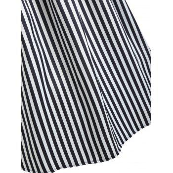 Stripe Panel Sleeveless Casual Dress with Button - BLACK M