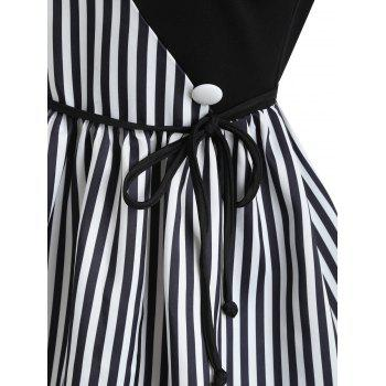 Stripe Panel Sleeveless Casual Dress with Button - BLACK XL