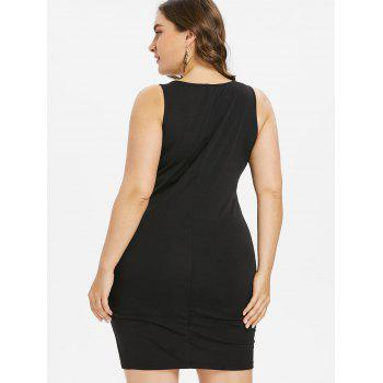 Plus Size Hourglass Embroidery Tight Dress - BLACK 5XL