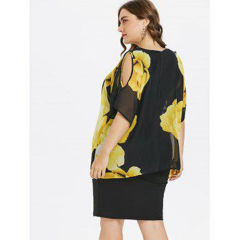 Robe Gaine Florale et à Sperposition - Noir XL