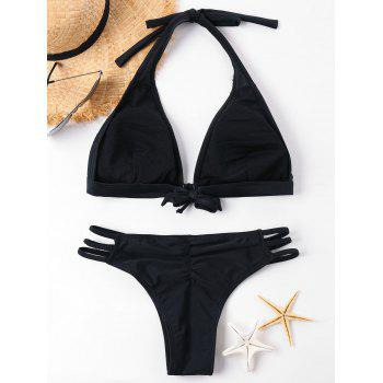 Lace Up Scrunch Bikini - BLACK M
