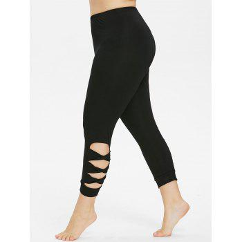 Plus Size Cutout Twist Detail Capri Leggings - BLACK L