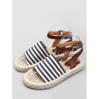 Espadrille Striped Color Block Ankle Strap Sandals - SKY BLUE 40