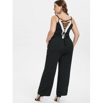 Plus Size Lace Trim Wide Leg Jumpsuit - BLACK L