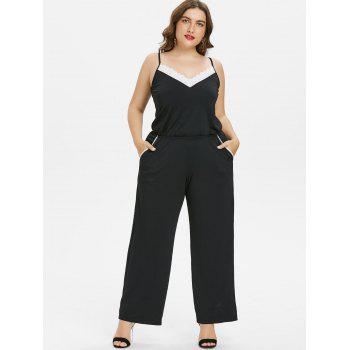 Plus Size Lace Trim Wide Leg Jumpsuit - BLACK 5X