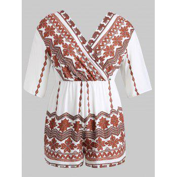 Plus Size Tribal Print Surplice Romper - WHITE 1X