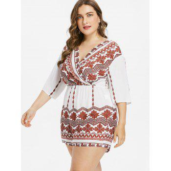 Plus Size Tribal Print Surplice Romper - WHITE 2X