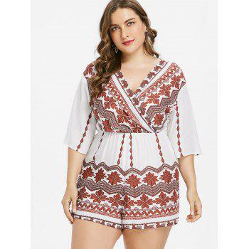 Plus Size Tribal Print Surplice Romper - WHITE 5X