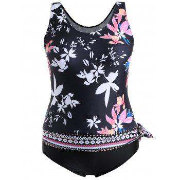 Plus Size Scoop Neck Floral One Piece Swimwear - BLACK 3XL