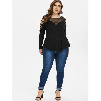 Plus Size Mesh Panel Long Sleeve Top - BLACK 1X