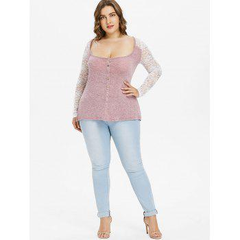 Plus Size Lace Color Block Tunic Top - LIPSTICK PINK 5X