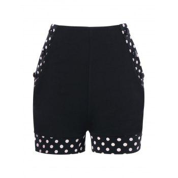Polka Dot Panel High Waisted Shorts - BLACK L