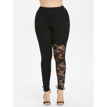 Plus Size Floral Lace Panel Lace Up Leggings - BLACK 4X