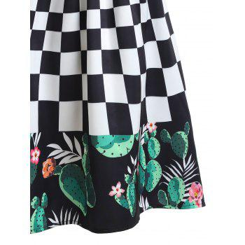 Checked Cactus Printed A-line Skirt - multicolor L