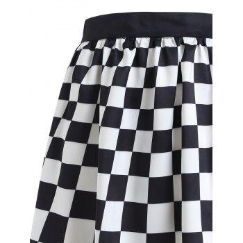 Checked Cactus Printed A-line Skirt - multicolor XL