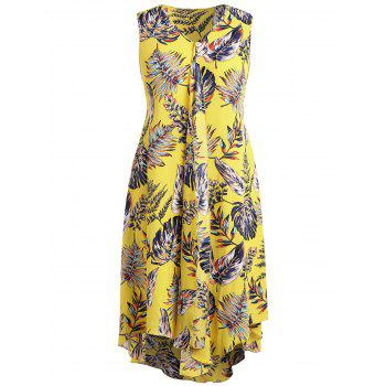 Plus Size Drape Front Tropical Print Flowing Dress - CORN YELLOW 1X