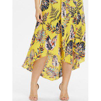 Plus Size Drape Front Tropical Print Flowing Dress - CORN YELLOW 3X