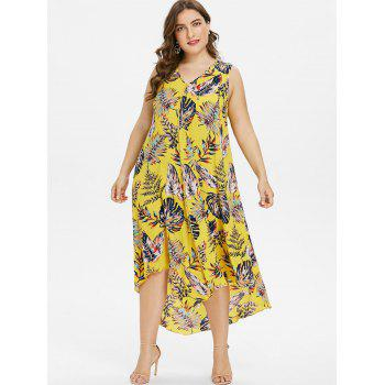 Plus Size Drape Front Tropical Print Flowing Dress - CORN YELLOW 5X