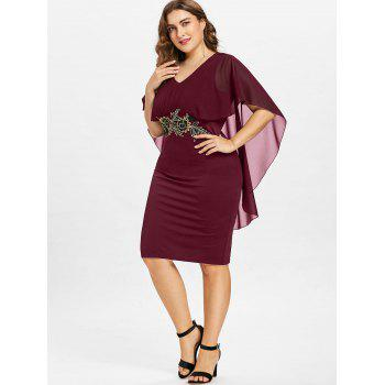 Plus Size Knee Length Capelet Dress - RED WINE 5X