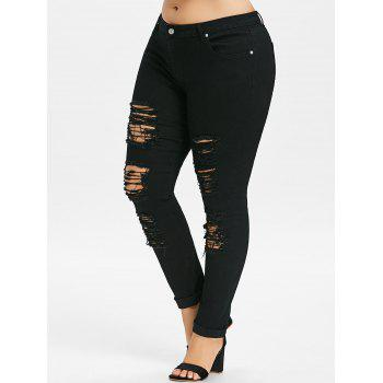 Plus Size Five Pockets Distressed Tight Jeans - BLACK 3XL