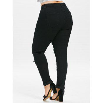 Plus Size Five Pockets Distressed Tight Jeans - BLACK 4XL
