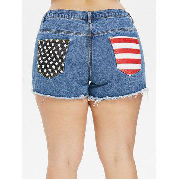 Plus Size Patriotic Jean Cutoff Shorts - JEANS BLUE 2X