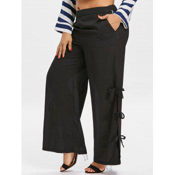 High Waisted Plus Size Wide Leg Pants - BLACK 3X