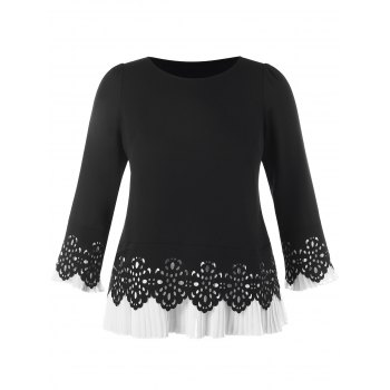 Plus Size Pleated Panel Long Sleeve Top - BLACK 2XL