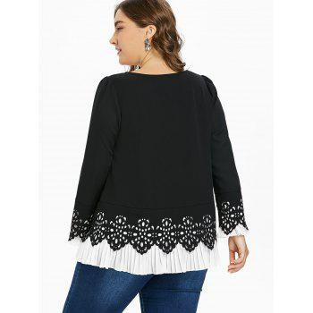 Plus Size Pleated Panel Long Sleeve Top - BLACK 5XL