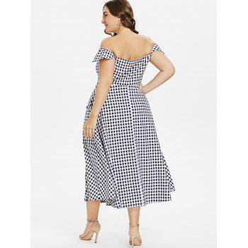 Plus Size Gingham A Line Dress - BLACK 1X