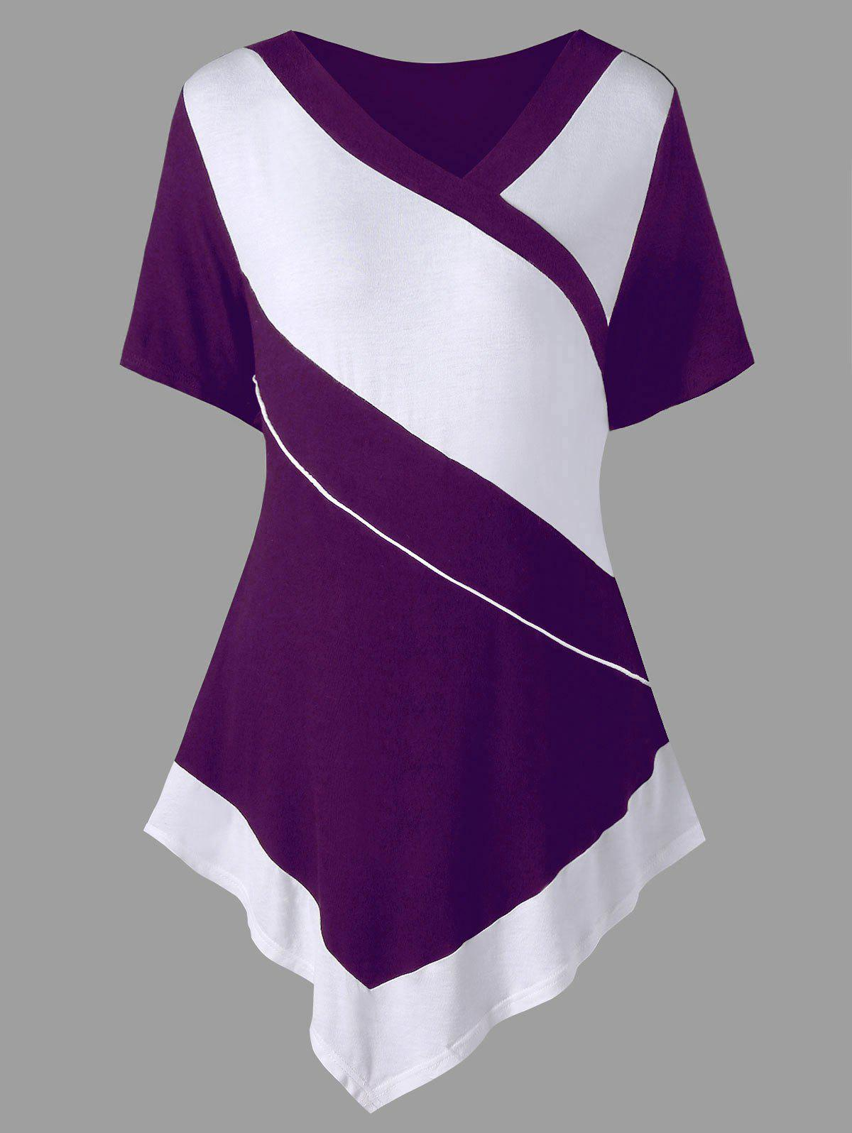 Plus Size V Neck Asymmetric T-shirt - PURPLE JAM XL