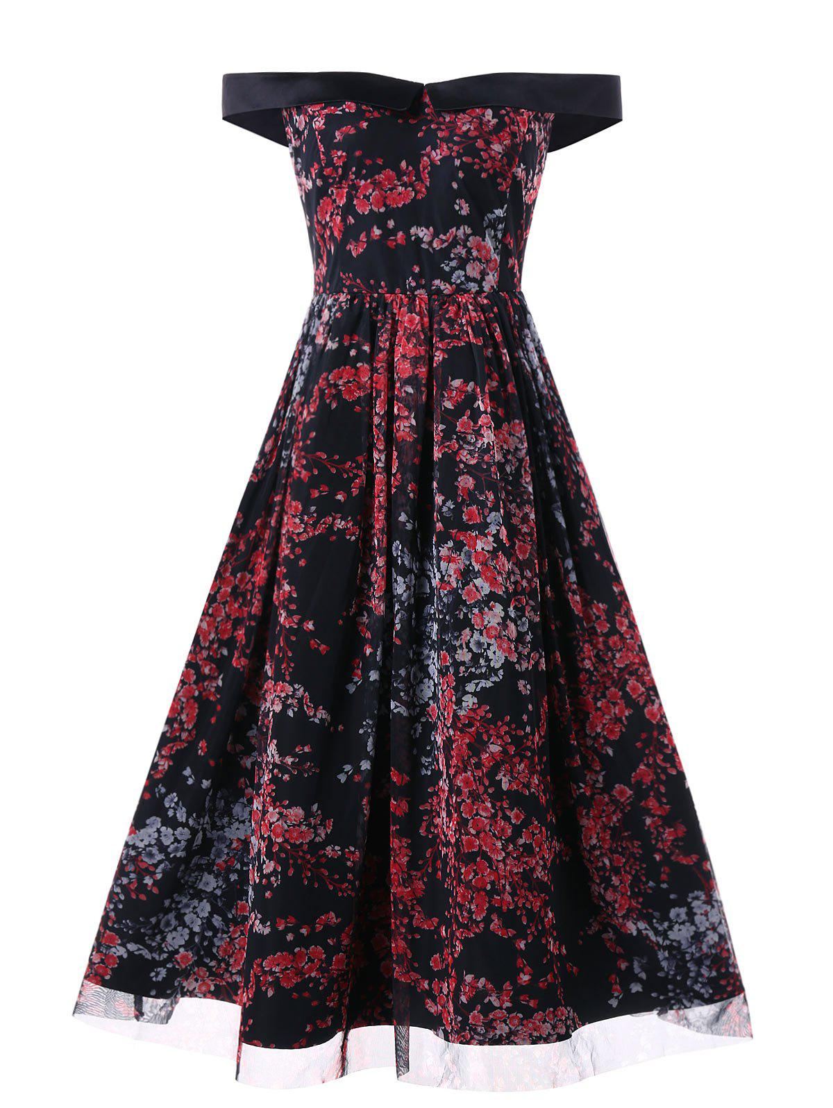 Off The Shoulder Floral Rockabilly Style Vintage Dress - multicolor L