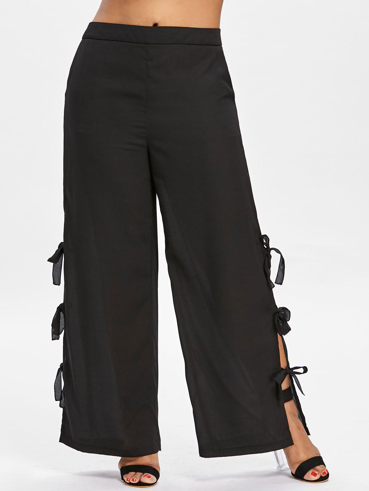 High Waisted Plus Size Wide Leg Pants - BLACK 4X