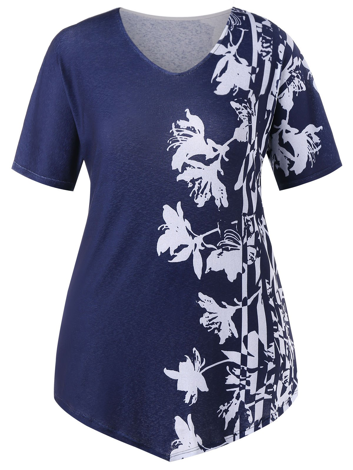 Plus Size Two Tone Floral V Neck T-shirt - MIDNIGHT BLUE L