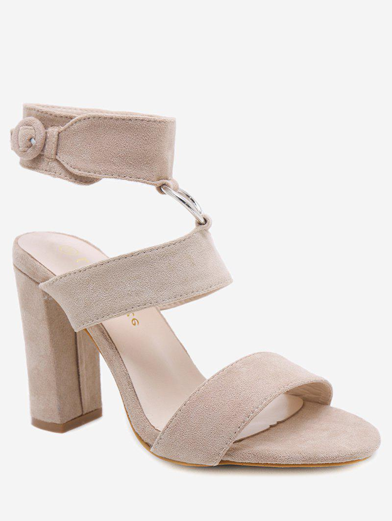 e500731dcd895e ... Buckled High Heel Ankle Strap Sandals - APRICOT 39 best quality 272d2  d5c56  Chic Fringes Flat ...
