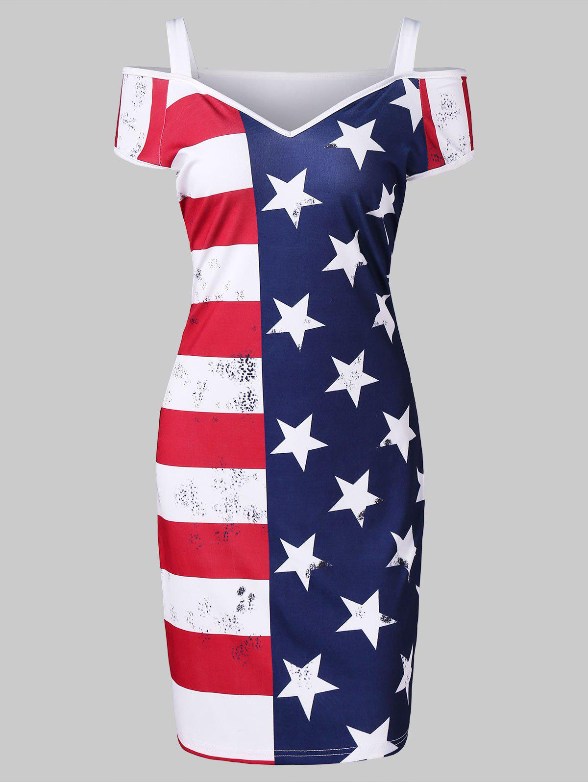 Cold Shoulder American Flag Mini Dress - multicolor M