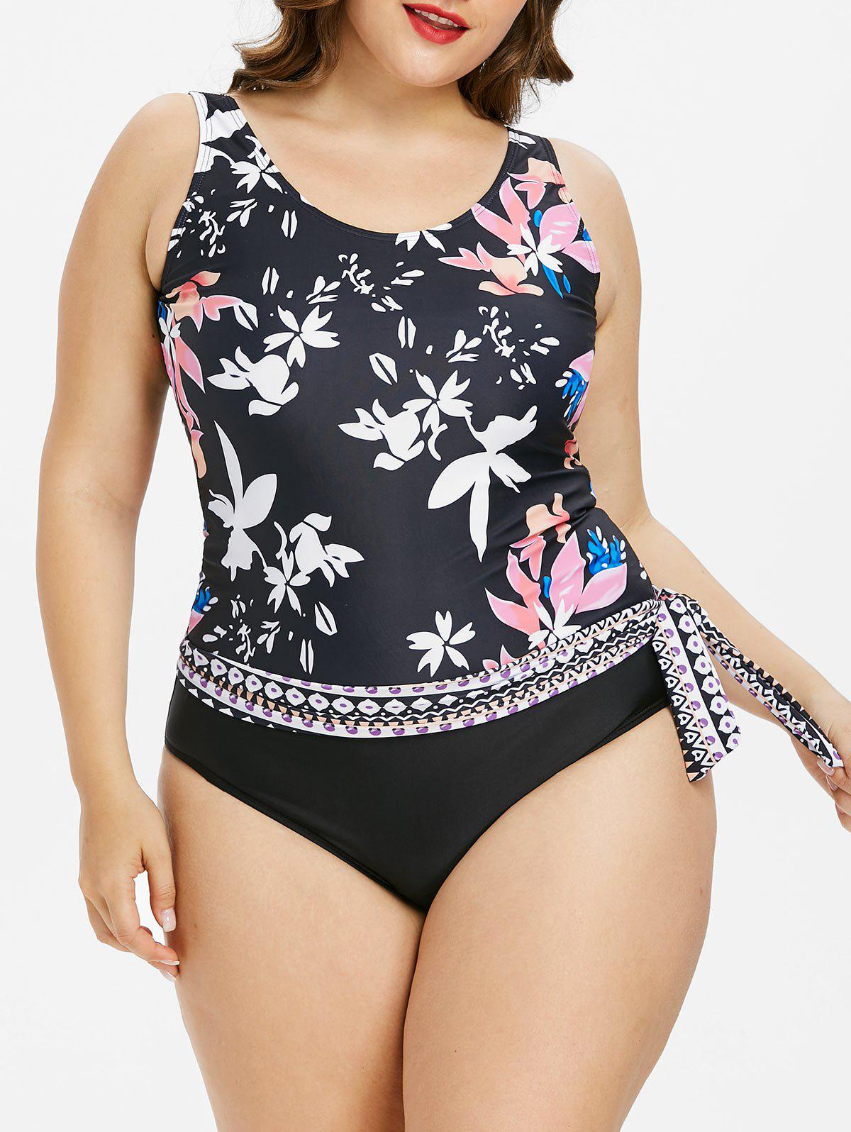 Plus Size Scoop Neck Floral Tankini Set - BLACK XL