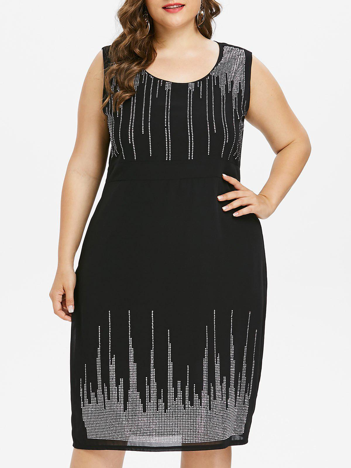 Plus Size Sleeveless Embellished Sparkly Dress футболка lonsdale lonsdale lo789emuic60