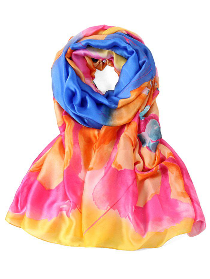 Romantic Floral Printed Long Shawl Scarf - ROYAL BLUE