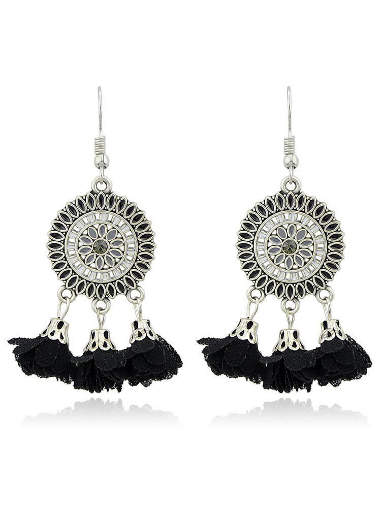 Vintage Round Shaped Flower Hanging Tassel Earrings - BLACK