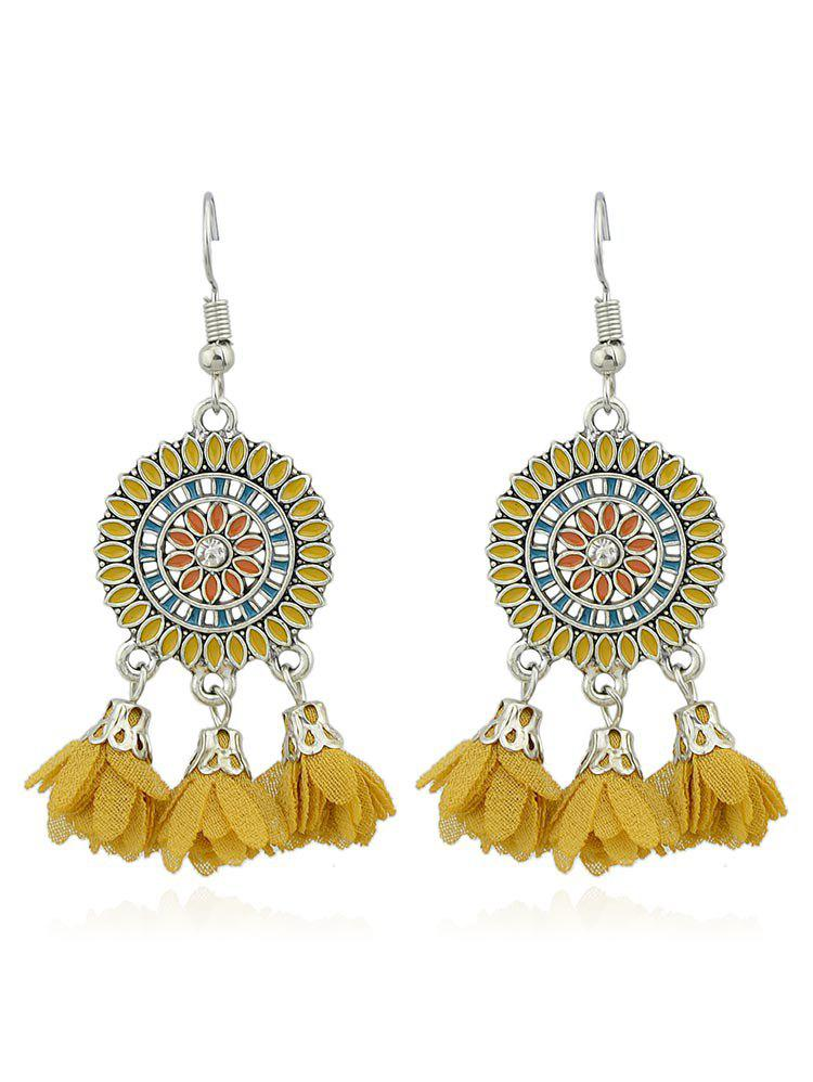 Vintage Round Shaped Flower Hanging Tassel Earrings - GOLDENROD