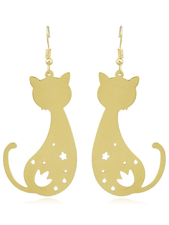 Cat Shaped Star Hollow Cut Drop Earrings - GOLD