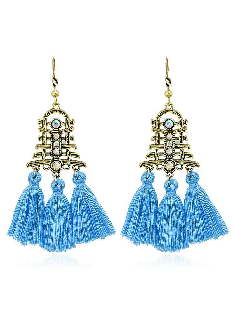 Vintage Rhinestone Tassel Decoration Hanging Earrings - BLUE