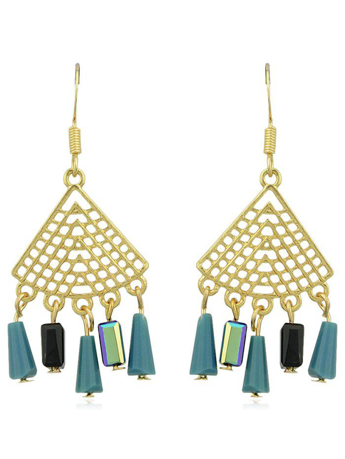 Fan Shaped Hollow out Rhinestone Tassel Dangle Earrings - multicolor A