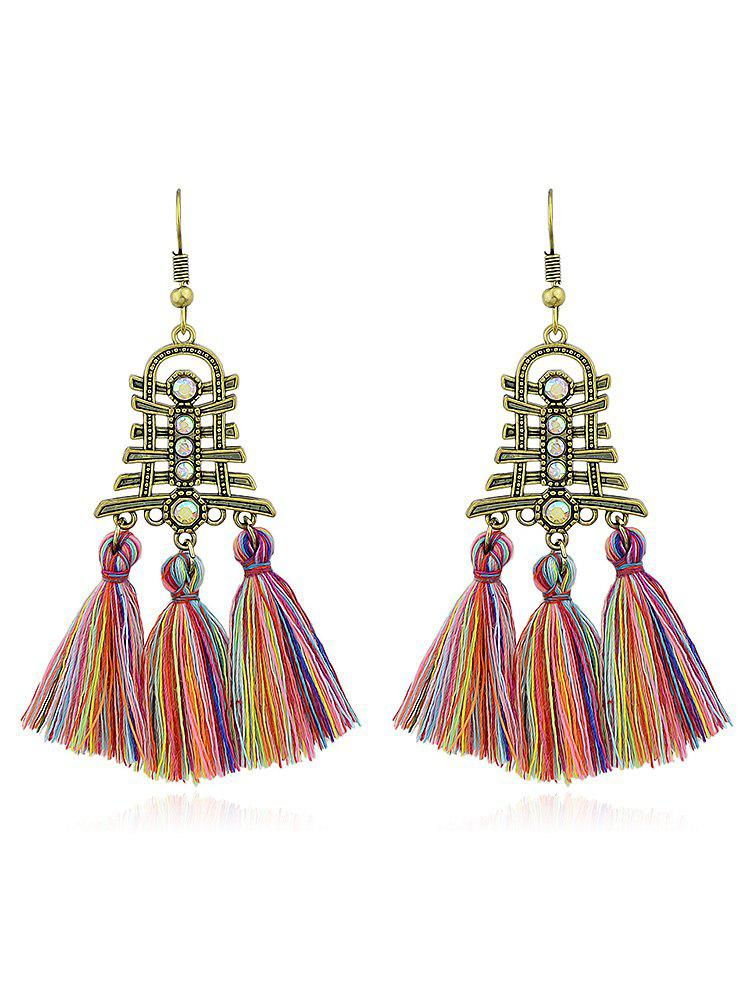 Vintage Rhinestone Tassel Decoration Hanging Earrings - multicolor B
