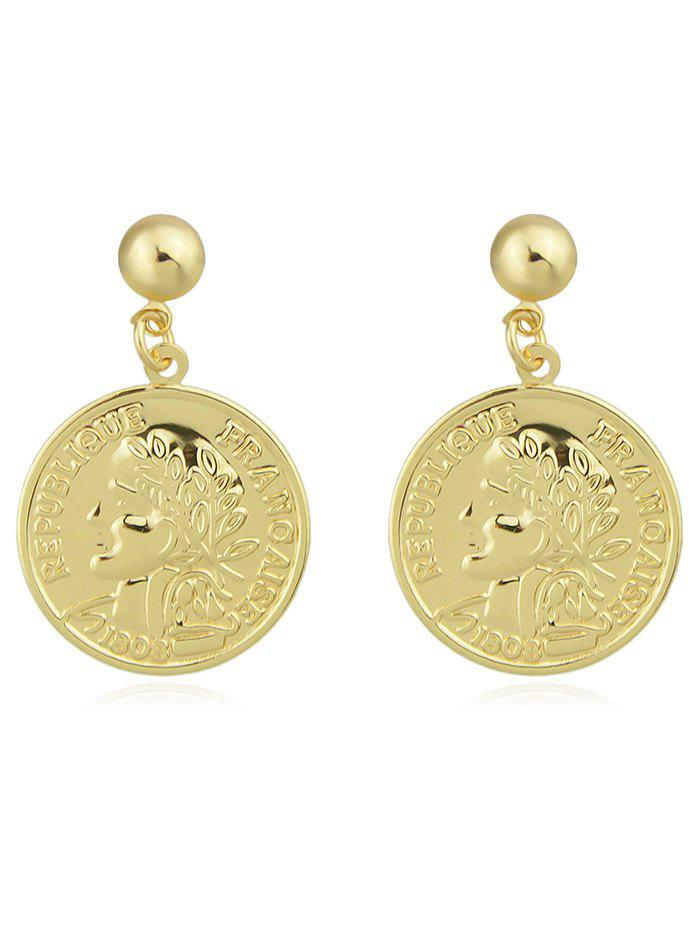 Round Coin Shape Drop Earrings - GOLD