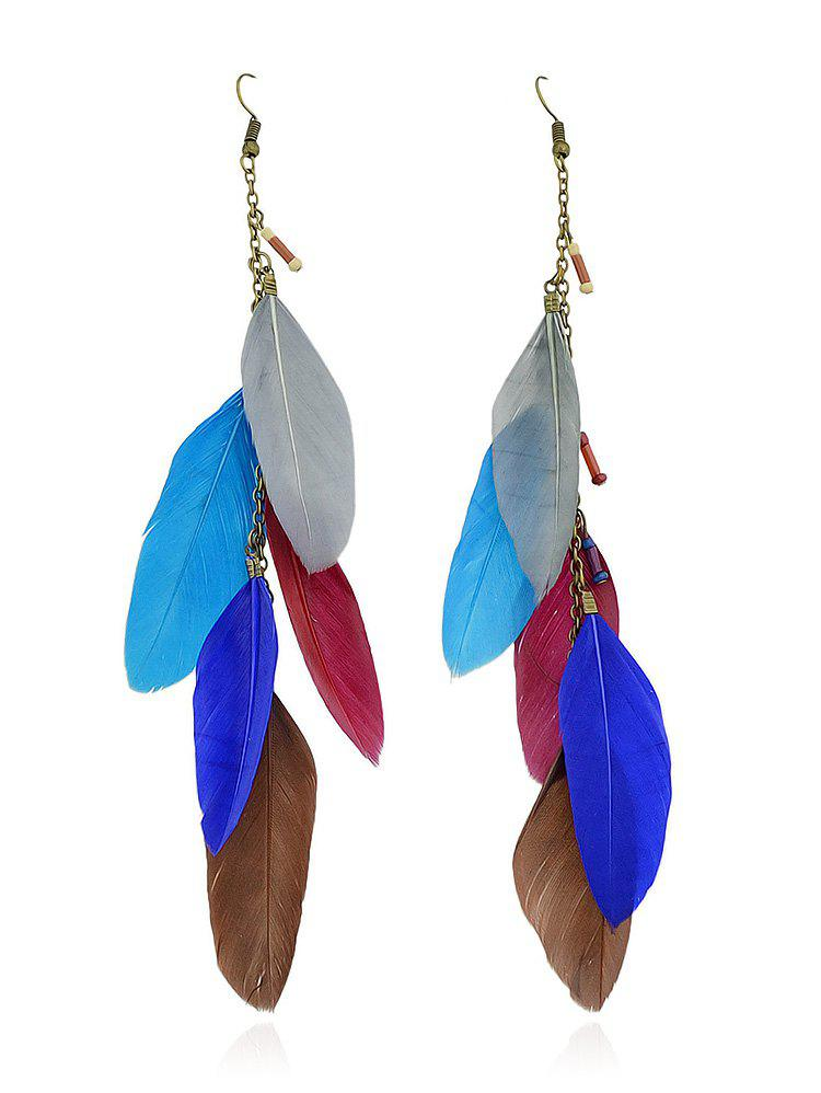 Feathers Decoration Chain Dangle Earrings - multicolor